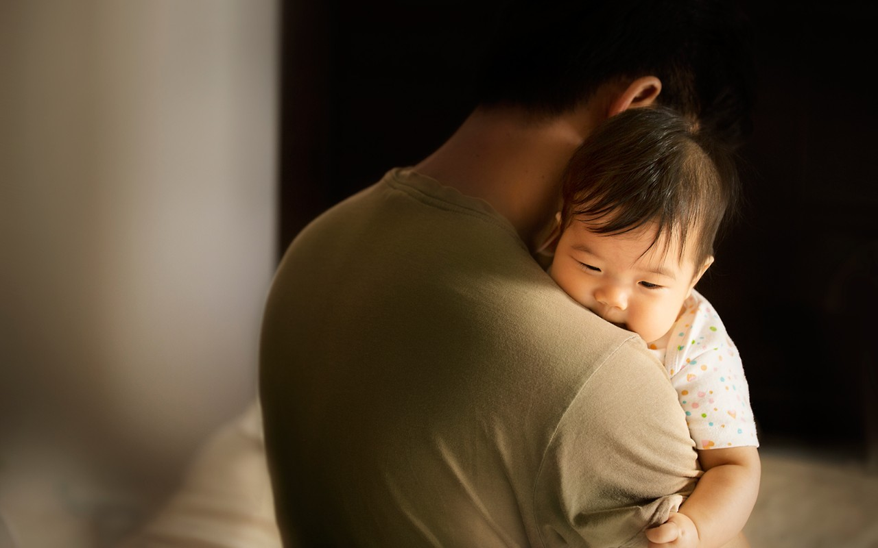 Toddler carried by father in moody bedroom background, son, dad, sleep, Asian